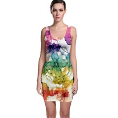 Multicolored Floral Swirls Bodycon Dress