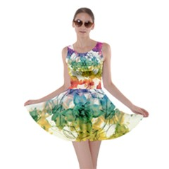 Multicolored Floral Swirls Decorative H Skater Dress