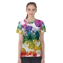 Multicolored Floral Swirls Decorative H Women s Sport Mesh Tee