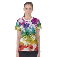 Multicolored Floral Swirls Decorative H Women s Cotton Tee