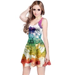 Multicolored Floral Swirls Sleeveless Dress