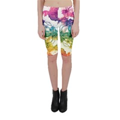 Multicolored Floral Swirls Cropped Leggings