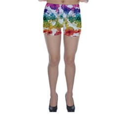 Multicolored Floral Swirls Skinny Shorts