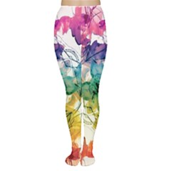 Multicolored Floral Swirls Tights