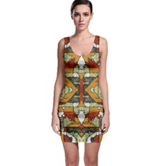 Multicolored Abstract Tribal Print Bodycon Dress