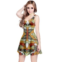 Multicolored Abstract Tribal Print Sleeveless Dress