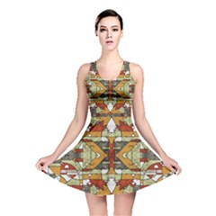 1Multicolored Abstract Tribal Print Reversible Skater Dress