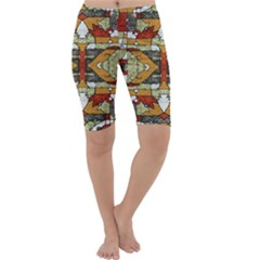 1Multicolored Abstract Tribal Print Cropped Leggings
