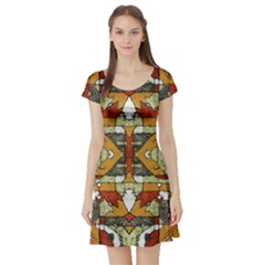 Multicolored Abstract Tribal Print Short Sleeved Skater Dress
