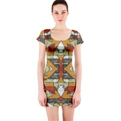Multicolored Abstract Tribal Print Short Sleeve Bodycon Dress