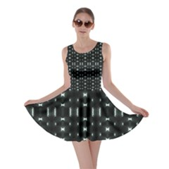 Futuristic Dark Hexagonal Grid Pattern Design Skater Dress