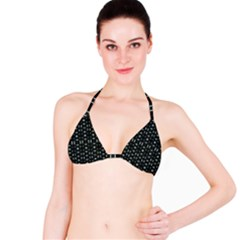 Futuristic Dark Hexagonal Grid Pattern Design Bikini Top