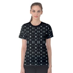 Futuristic Dark Hexagonal Grid Pattern Design Women s Cotton Tee