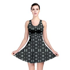 Futuristic Dark Hexagonal Grid Pattern Design Reversible Skater Dress