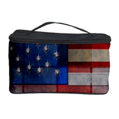 American Flag Quilt Cosmetic Storage Case