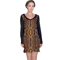 Tribal Art Abstract Pattern  Long Sleeve Nightdress