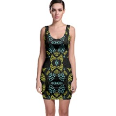 Ornate Dark Pattern Bodycon Dress