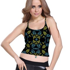 Ornate Dark Pattern Women s Spaghetti Strap Bra Top