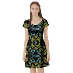 Ornate Dark Pattern Short Sleeved Skater Dress