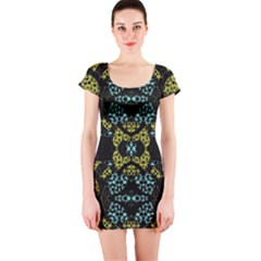 Ornate Dark Pattern Short Sleeve Bodycon Dress