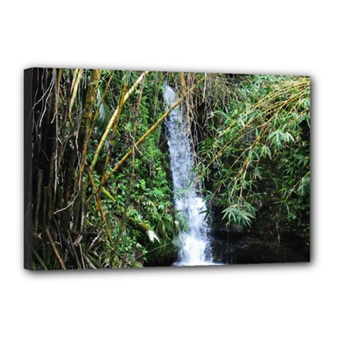 Bamboo Waterfall Canvas 18  X 12  (framed)