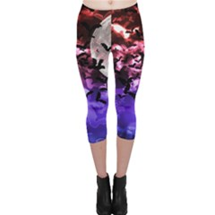 Bokeh Bats in Moonlight Capri Leggings