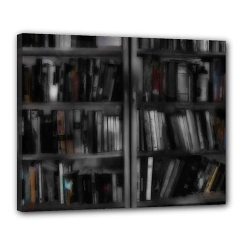 Black White Book Shelves Canvas 20  X 16  (framed)