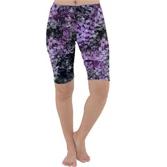 Lilacs Fade To Black And White Cropped Leggings