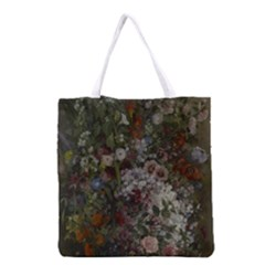 Courbet Bouquet Of Flowers In Vase Grocery Tote Bag