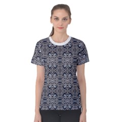Modern Arabesque In Gray And Blue Women s Cotton Tee