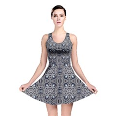 Modern Arabesque In Gray And Blue Reversible Skater Dress