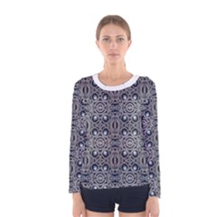 Modern Arabesque In Gray And Blue Long Sleeve T Shirt (women)