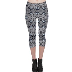 Modern Arabesque in Gray and Blue Capri Leggings