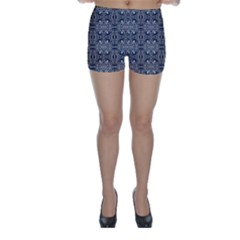 Modern Arabesque in Gray and Blue Skinny Shorts