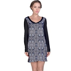 Modern Arabesque in Gray and Blue Long Sleeve Nightdress