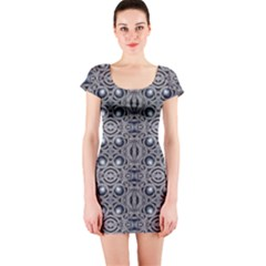Modern Arabesque In Gray And Blue Short Sleeve Bodycon Dress