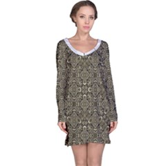 Steam Punk Pattern Long Sleeve Nightdress