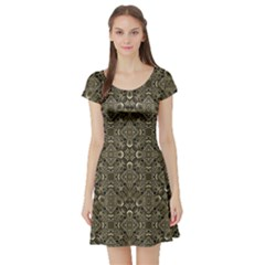 Steam Punk Pattern Short Sleeved Skater Dress