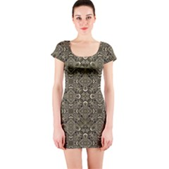 Steam Punk Pattern Short Sleeve Bodycon Dress