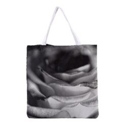 Light Black and White Rose Grocery Tote Bag