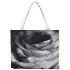 Light Black and White Rose Tiny Tote Bag