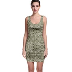 Silver Intricate Arabesque Pattern Bodycon Dress