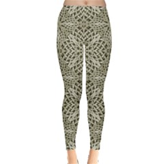 Silver Intricate Arabesque Pattern Leggings