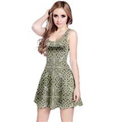 Silver Intricate Arabesque Pattern Sleeveless Dress