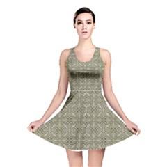 Silver Intricate Arabesque Pattern Reversible Skater Dress