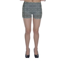 Silver Intricate Arabesque Pattern Skinny Shorts