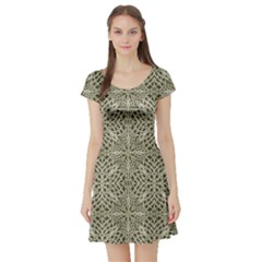 Silver Intricate Arabesque Pattern Short Sleeved Skater Dress