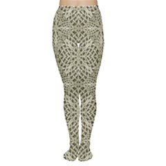 Silver Intricate Arabesque Pattern Tights