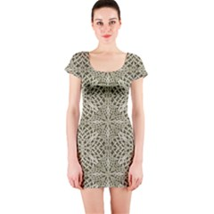 Silver Intricate Arabesque Pattern Short Sleeve Bodycon Dress