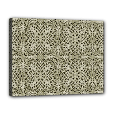 Silver Intricate Arabesque Pattern Canvas 14  x 11  (Framed)